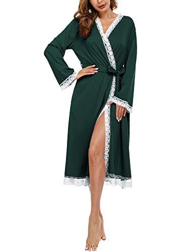 Doaraha Albornoces de Encaje para Mujer Cárdigan Batas de Encaje Bata de Kimono con Cuello en V Bolsillo Ropa de Dormir Suave (Verde, S)