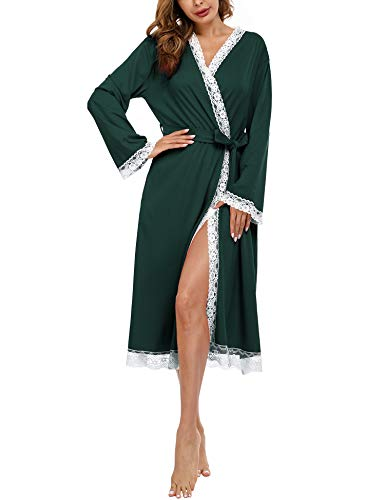Doaraha Nachthemd Damen Sexy Lange Morgenmantel Spitze, Bademantel mit Gürtel Langarm V-Ausschnitt Sexy Nachtwäsche für Frauen Grau M