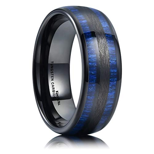 King Will Nature 8mm Mens Domed Blue Maple Inlay Black Tungsten Carbide Ring Brushed Wedding Band 11