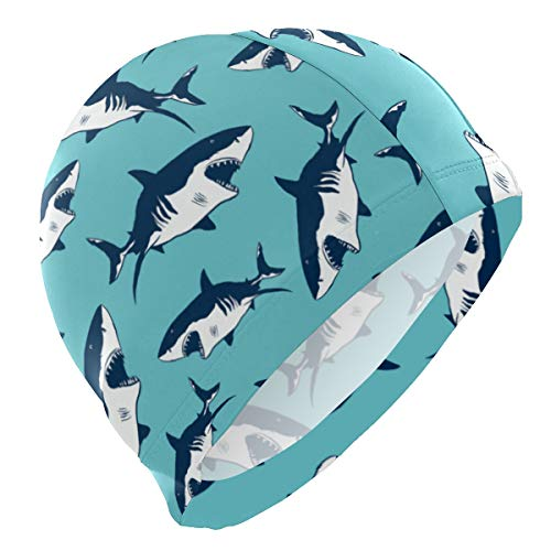 Badekappen, Meerestiere, Tiere, Hai, Badekappe, Mütze, wasserdicht, für Erwachsene, Männer, Frauen, Jugendliche, Mädchen, Jungen