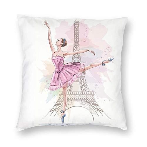 Funda de almohada decorativa NiBBuns Ballet Girl Dancer Paris Eiffel Tower, funda de cojín cuadrada estándar para hombres mujeres decoración del hogar, 45,7 x 45,7 cm