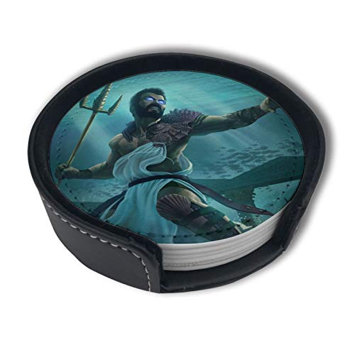Greek Mythology God Of Sea Poseidon Leather Coasters for Drinks Set of 6 Holder-Protect Your Furniture