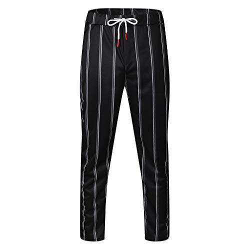 Gaowen Men Striped Slim Sports Trousers Bodybuilding Pocket Flexible Waist Casual Tight Long Pants (Black, M)