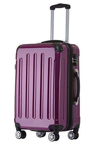 BEIBYE Zwillingsrollen 2048 Hartschale Trolley Koffer Reisekoffer Taschen Gepäck in M-L-XL-Set (Lila, L)