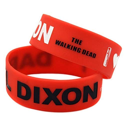 ZJZ Pulsera de Silicona Caliente Zombi Amo Daryl Dixon The Walking Dead Pulseras (Color : Red)