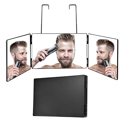 360° Trifold Mirror for Self Hair Cutting and Styling, 3 Way Mirror Hangable On Wall Or Tabletop Cosmetic & Makeup Mirror