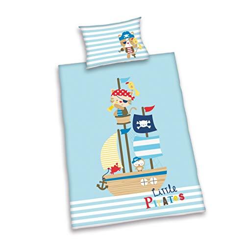 Herding BABY BEST Parure de Lit Réversible pour Enfants Lara les Petits Pirates, Housse de Couette 100 x 135 cm, Taie d'Oreiller 40 x 60 cm, Coton/Renforcé