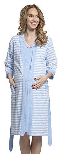 Zeta Ville - Premamá camisón Set Bata Embarazo Lactancia de Rayas - Mujer - 190c