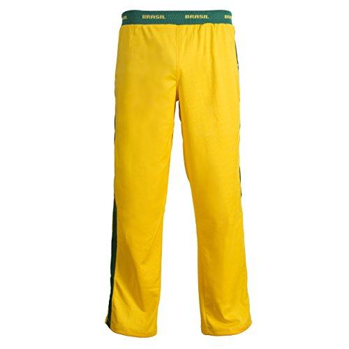 JL Sport Unisex Brasile Bandiera Verde Giallo Capoeira per Bambini Arti Marziali Gioventù Elastici Pantaloni Tute Pantaloni - 11-12