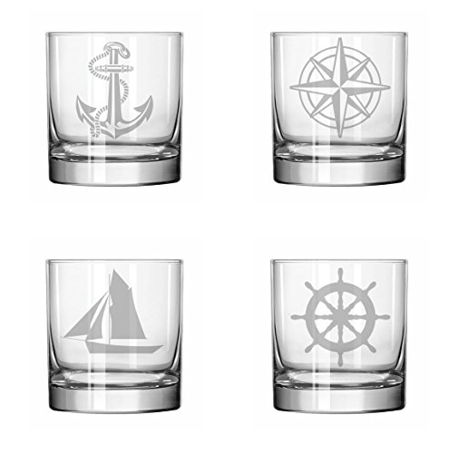 Set of 4 Glass 11 oz Rocks Whiskey Highball Anchor Boat Compass Nautical Collection