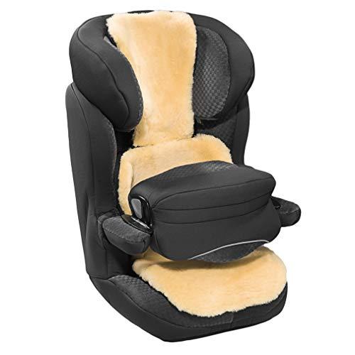 Lammfell Buggy und Autositzauflage von WERNER CHRIST– Kindersitzunterlage, Lammfelleinlage aus medizinischem Fell, für Kinder und Babys, längenverstellbar, Größen: Kindersitze der Gruppe 2-3