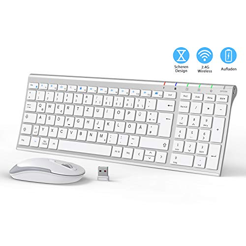 iClever GK03 2.4G Tastatur Maus Set Kabellos, Aluminium Wireless Slim Tastatur QWERTZ Layout (Deutsch), für Computer/Desktop/PC/Laptop/Oberfläsche/Smart TV und Windows 10/8/7/Vista/XP