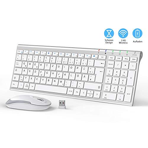 iClever 2.4G Tastatur Maus Set Kabellos, Aluminium Wireless Slim Tastatur QWERTZ Layout (Deutsch), für Computer/Desktop/PC/Laptop/Oberfläsche/Smart TV und Windows 10/8/7/Vista/XP