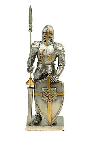 Veronese Templier en étain avec bouclier et lance 13 cm Figurine Templier Décoration Knight Chevalier