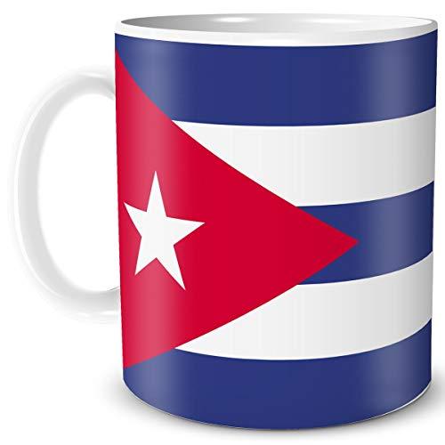 TRIOSK Teebecher mit Flagge Kuba Länder Flaggen Geschenk Tassen Reise Souvenir Cuba für reiselustige Weltenbummler