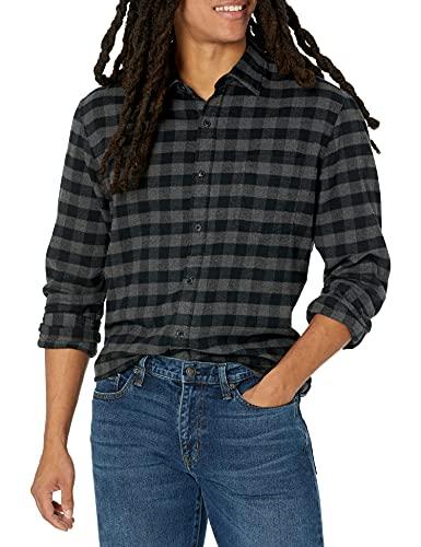 Amazon Essentials - Camisa de franela a cuadros, manga larga, ajustada, para hombre, Gris (Charcoal Buffalo Plaid), X-Large