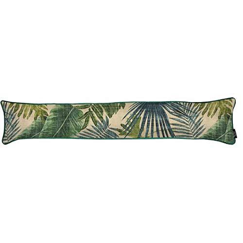 McAlister Textiles Burlete de terciopelo con hojas de palmera | Exótico patrón de palmera verde esmeralda con impresión de terciopelo suave | Tope de puerta de lino decorativo de lujo + aislante