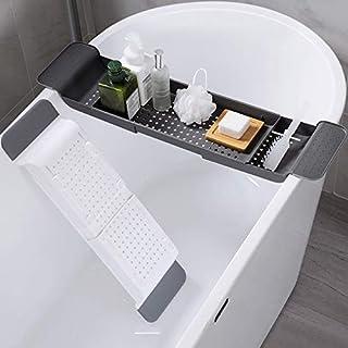 バスタブキャディトレイ バスタブ用バストレイ 拡張可能 ホームバスルーム 浴槽キャディトレイラック ソープシャワー収納棚 ワイントレイホルダー スパティートレイ (グレー)