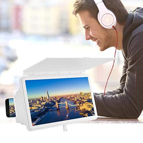 Telefoonscherm Versterker en standaard, 12 inch Full HD Oogbescherming Scherm voor mobiele telefoon Vergroten Vergrootglas TV Video Filmprojector Compatibel Alle smartphones(Wit)