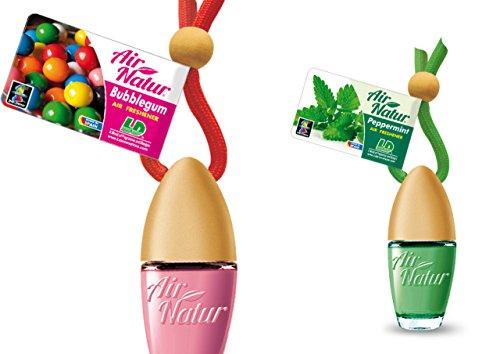 2 stijlvolle modieuze Air Natuur Little flessen luchtverfrissers auto en kamer geur 6 ml - geur Bubble Gum - kauwgom + pepermunt - pepermunt