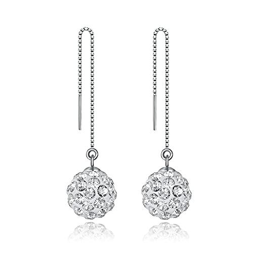 BUKEQILA Pendientes Elegante largo de plata de ley 925 con bolas de cristal austriaco de 8 mm, para mujer o niña, con bolsa de regalo,perfectos para hacer Regalos Originales