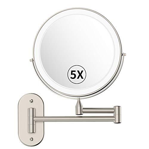 alvorog Espejo de Maquillaje con Luz LED y 1x/5x Aumento Espejos, Espejo de Pared con Doble Cara de 360° Rotación, Luz Ajustable y 0.5h Apagado Automático para Baño, Tocador, Hotel (Níquel)