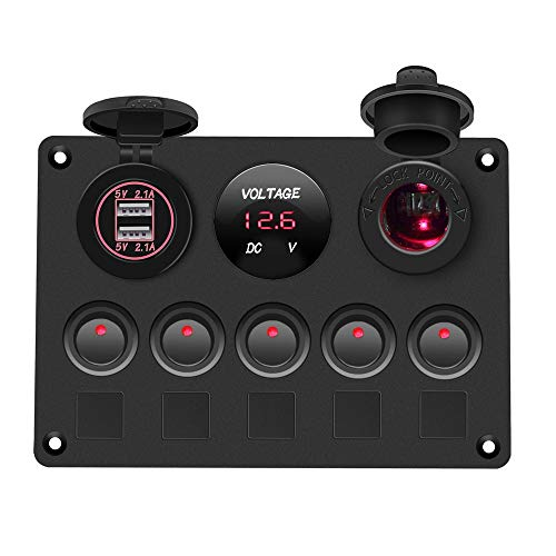 Ventana de coche interruptor de botón 12V Outlet Combinación Marine LED Rocker 5 Gang Boat Switch Panel Interruptor de automóvil Panel Impermeable Voltímetro Digital Dual USB Puerto Interruptor de enc