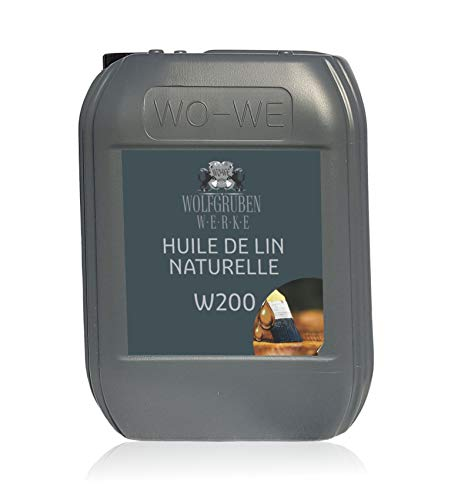 Huile de lin pure W200 première pression à froid pour le bois - 10L
