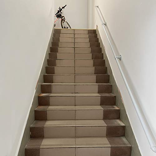Barandilla Blanca - Kit Completo. Diseño tubería de Agua Hierro Forjado Pasamanos, Kit de Soporte barandilla de Escalera para Interiores Exteriores, Barandilla de Cubierta(Size:80cm)