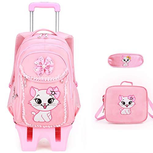 YeMao Le Ragazze del Gatto di Bowknot Pink Princess Style Trolley Schoolbag Set, 6 Ruote Salire Le Scale Staccabile Zaino Bookbag Bagaglio a Mano,Pink-32 * 15 * 45CM