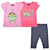 STAR WARS Lucasfilm The Child Girl's 3 Pack Baby Yoda Short Sleeves Tee Shirts and Leggings Set for Kids, 5 Pink