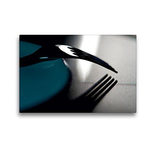 Premium Textil-Leinwand 45 x 30 cm Quer-Format Gabel an Teller | Wandbild, HD-Bild auf Keilrahmen, Fertigbild auf hochwertigem Vlies, Leinwanddruck von Helmut Probst