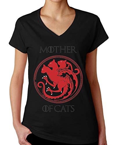 ShutUp Co. Mother of Cats Camiseta con Cuello de Pico para Mujer Medium