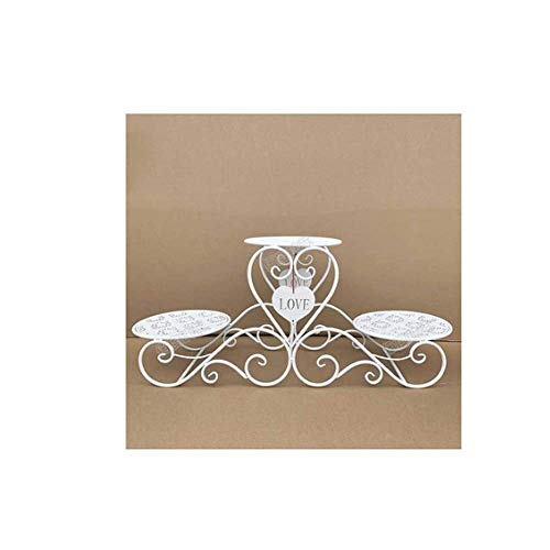WEIFAN-Support tray Porte-gâteaux, Plateau en Fer forgé européen Multicouche gâteau cérémonie de Mariage Anniversaire Trois Niveaux Snack Plateau Plateau à Dessert, Blanc