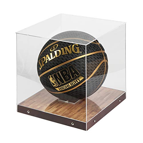 J JACKCUBE DESIGN Basketball Display Case Stand with Wooden Base, Clear Storage for Collectible Sports Memorabilia Holder Cube Case, Autograph Ball Standing Display, Floor (Printing) - MK342SS
