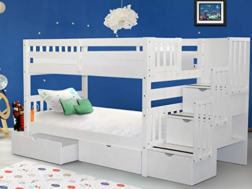 Product Image of the Bedz King Stairway Bunk Beds Twin over Twin with 3 Drawers in the Steps and 2...