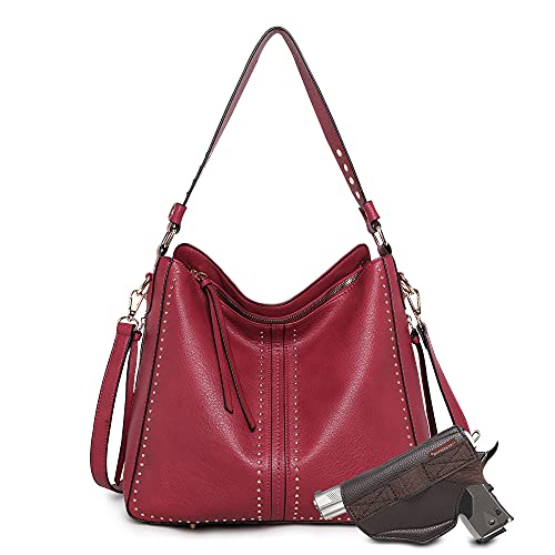 Montana West Tote Bag for Women Large Concealed Carry Purses and Handbags Faux Leather Hobo Bags Shoulder Bag with Crossbody Strap and Gun Holster B2B-MWC-G1001RD