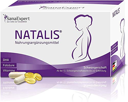 SanaExpert Natalis, Nahrungsergänzung für die Schwangerschaft – mit 700 µg DHA, Folsäure, Eisen, Vitaminen, Monatspackung à 90 Kapseln (1)