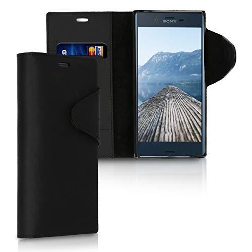 kalibri Hülle kompatibel mit Sony Xperia XZ/XZs - Leder Handyhülle Handy Hülle Cover - Schutzhülle in Schwarz