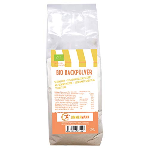 Bio Weinstein Backpulver 500g Low Carb (kohlenhydratreduziert - 96% weniger verwertbare Kohlenhydrate als herkömmliches Weinsteinbackpulver) - ohne Stärke - von Zimmermann Sportnahrung