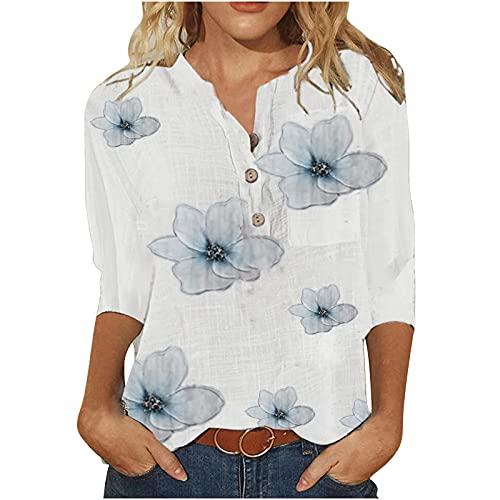 Wirziis Blusa casual de manga 3/4 de verano para mujer, con botones a la moda, con cuello en V y cuello en V para primavera, otoño, floral, ajuste holgado., doble-pecho, M, Aa # azul claro