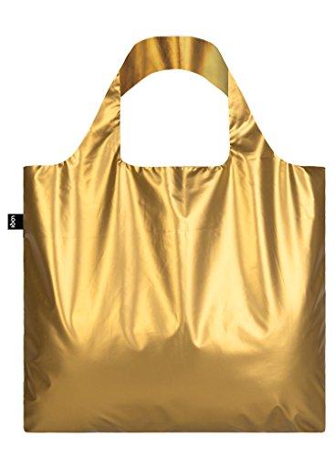 METALLIC, Matt Gold. Bag: LOQI BAG: Ich wiege 55 g. Ich kann 20 kg tragen. Ich bin wasserabweisend. Ich bin aus Polyester