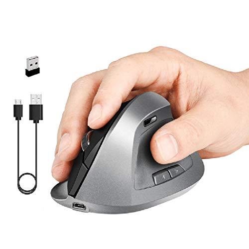 Tcn Souris Sans Fil Ergonomique 1600DPI, Souris Verticales Optiques Rechargeables Par USB,Souris Sans Fil Gamer