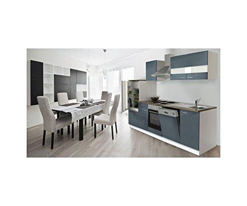 respekta LBKB280WG - Blocco cucina vuoto, 280 cm, colore bianco/grigio