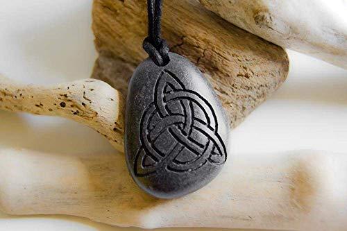 Celtic Trinity engraved stone pendant, Celtic pebble necklace, Irish pebble, Irish men's necklace, Irish Trinity pebble men's necklace