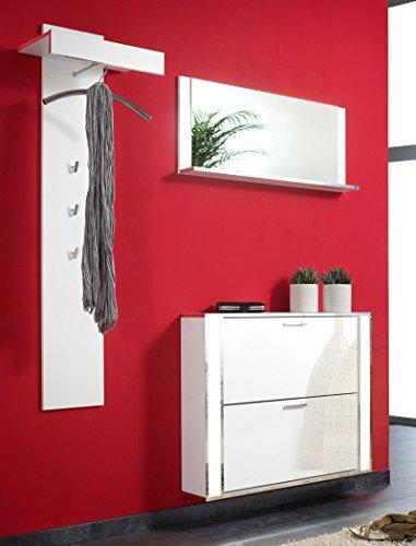 expendio Garderoben Set Duena 3 TLG weiß Dekor Wandpaneel Spiegel Schuhschrank beleuchtet Garderobe Schrank