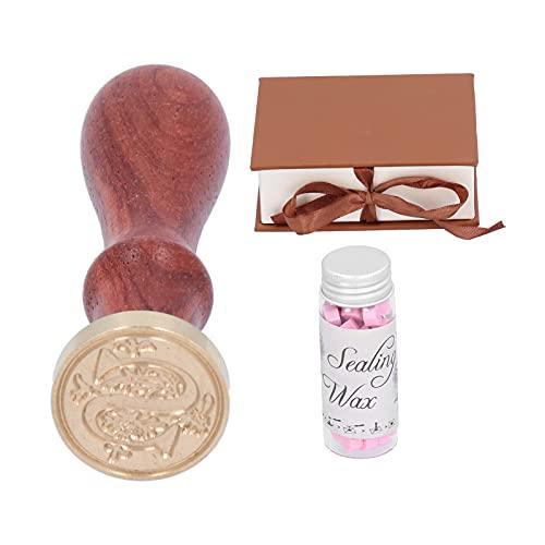 Raguso Kit de manija de Sello de Sello de Cera Sellado de Sello de Cera Perlas de Cera de Sellado con Caja de Regalo para decoración de Sobres