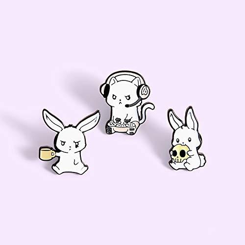 ZSCZQ Cartoon Nettes Kaninchen Abzeichen Spiel Kaffee Kaninchen Metall Emaille Brosche Trendy Revers Rucksack Schmuck Zubehör Geschenk WY0155
