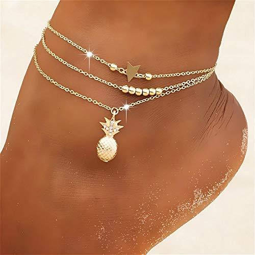 siqiwl Tobillera de moda piña colgante tobilleras para las mujeres color oro multicapa pie cadena tobillo pulsera joyería playa accesorios oro