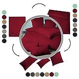 aqua-textil Luxury Bettwäsche zum Kombinieren 140 x 200 cm Spannbettlaken Bordeaux rot Baumwolle Mako Satin Bettlaken